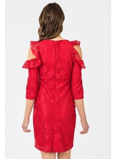 İroni Kol Detaylı Dantel Elbise Kırmızı
